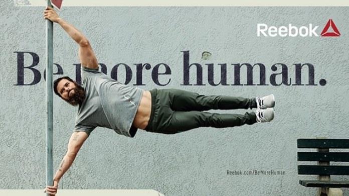 100 anuncios publicitarios con eslogan: Mejores slogans. Reebok: Sé más humano.