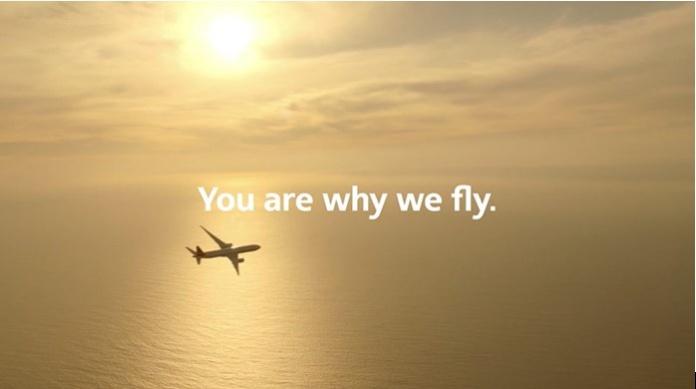 100 anuncios publicitarios con eslogan: Mejores slogans. American Airlines: Tú eres la razón por la que volamos.