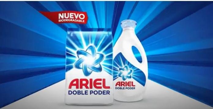 100 anuncios publicitarios con eslogan: Mejores slogans. Detergente Ariel: Ariel doble poder.