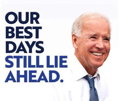 100 anuncios publicitarios con eslogan: Mejores slogans. Biden 2020: Nuestros mejores días aún están por venir.