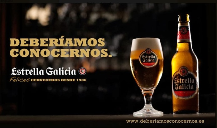100 anuncios publicitarios con eslogan: Mejores slogans. Cerveza Estrella Galicia. Deberíamos conocernos.