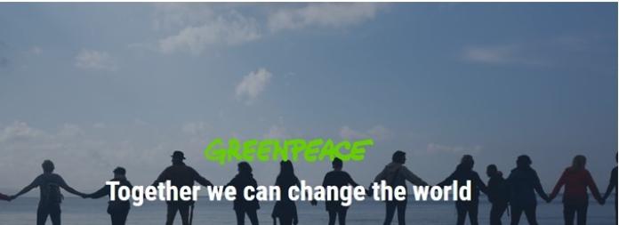 100 anuncios publicitarios con eslogan: Mejores slogans. Greenpeace: Juntos podemos cambiar al mundo.