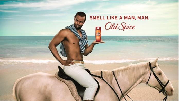 100 anuncios publicitarios con eslogan: Mejores slogans. Fragancia Old Spice: Huele como un hombre, ¡hombre!