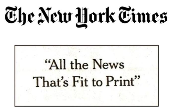 100 anuncios publicitarios con eslogan: Mejores slogans. The New York Times: Todas las noticias que merecen ser publicadas.