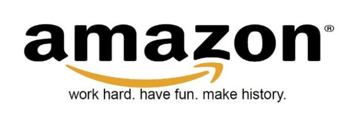 100 anuncios publicitarios con eslogan: Mejores slogans. Amazon: Trabaja duro. Diviértete. Haz historia.