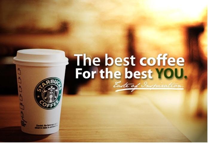 100 anuncios publicitarios con eslogan: Mejores slogans. Starbucks: El mejor café para lo mejor de ti.