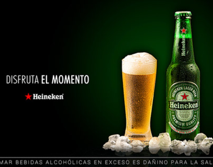 100 anuncios publicitarios con eslogan: Mejores slogans. Heineken: disfruta el momento.