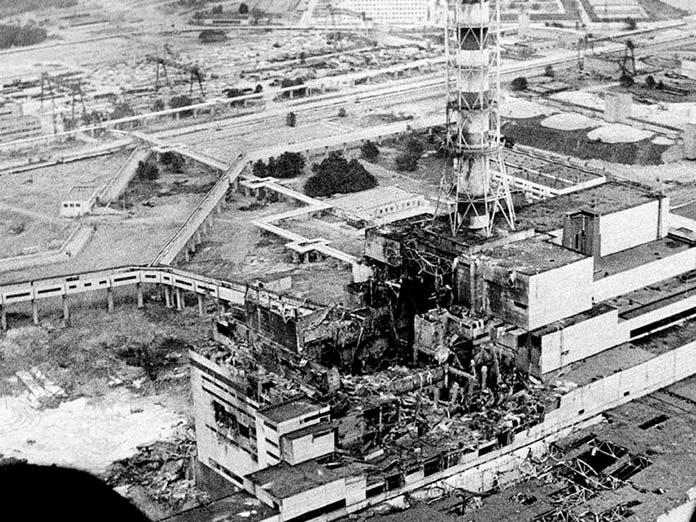 Fotografía aérea de la planta nuclear de Chernobyl en 1986