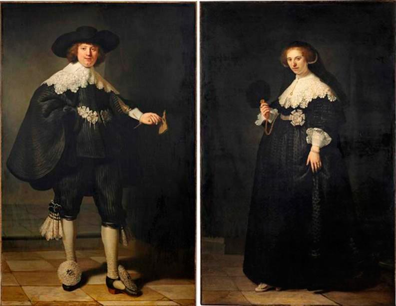 'Retratos colgantes de Marten Soolmans y Oopjen Coppit' de Rembrandt