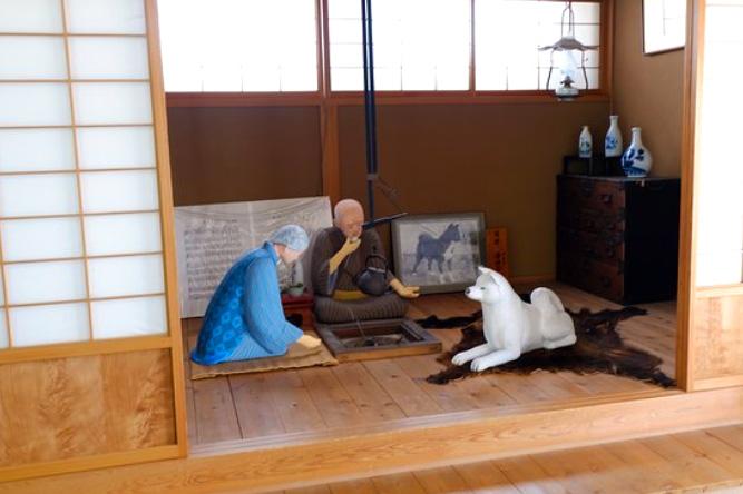 Representación de la vida con una Akita