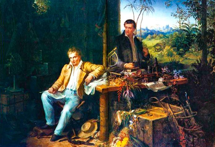 Alexander von Humboldt y Aimé Bonpland en la selva amazónica del río Casiquiare.