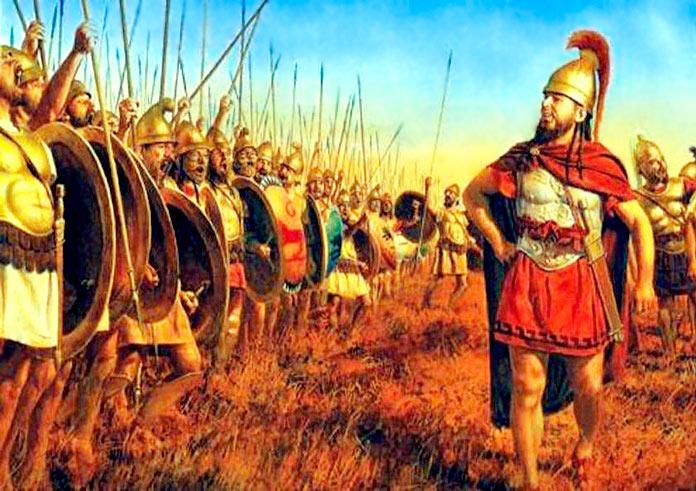 Aníbal arengando a sus tropas en Cartago