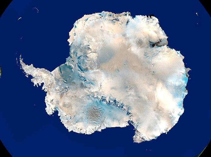 Mapa satelital de Antártida.