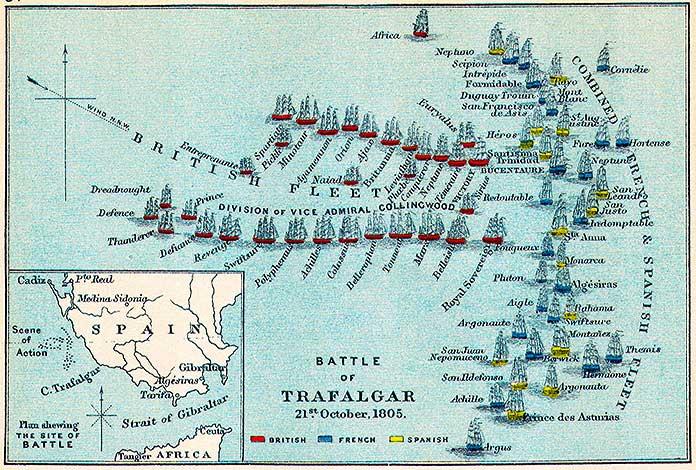 División de las tropas - Batalla de Trafalgar