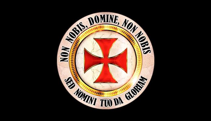 """Sello templario con la Cruz patada roja y su lema """"Non nobis, Domine, non nobis, sed nomini tuo da gloriam"""" (""""Nada para nosotros, Señor, nada para nosotros, sino para la gloria de tu nombre"""")"""