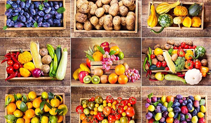 Varias cajas con frutas y verduras
