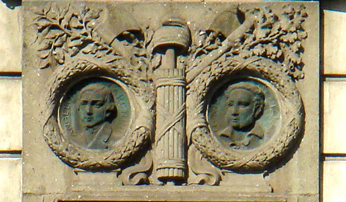Placa conmemorativa del ajusticiamiento de los carbonarios Angelo Targhini e Leonida Montanari.