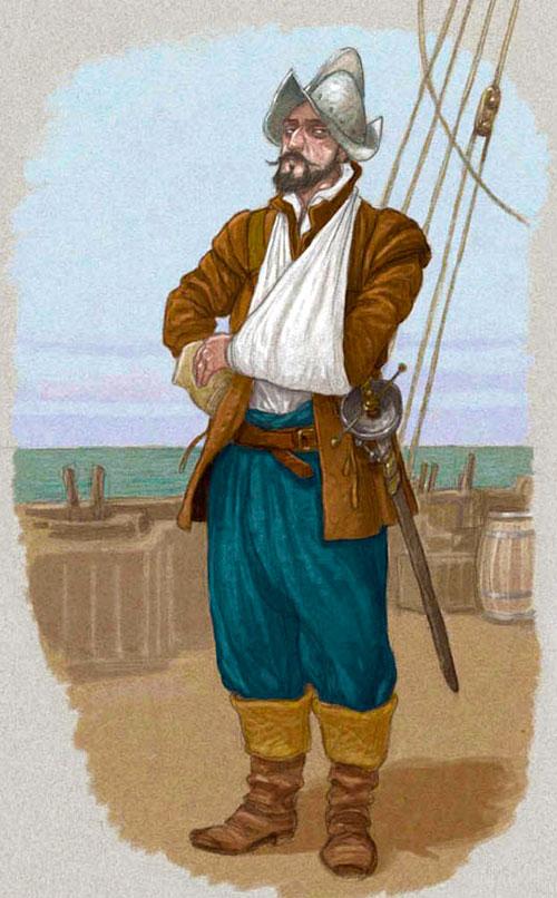 Ilustración de Miguel de Cervantes tras la batalla de Lepanto