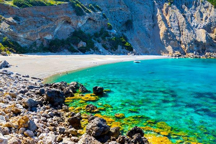 Vista de la playa Coll Baix en Mallorca