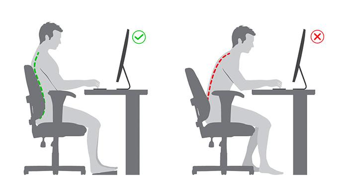 Cómo tener más energía: Postura correcta sentado