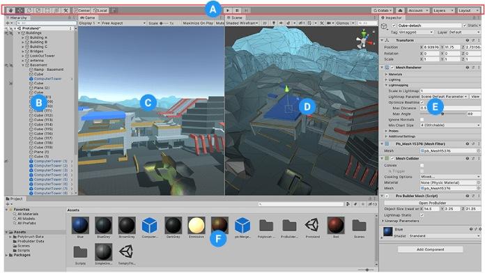 Creador de videojuegos Unity: Interfaz de la plataforma.
