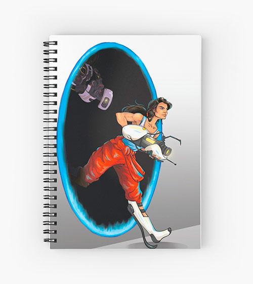 Cuaderno de espiral con Chell y GLaDOS
