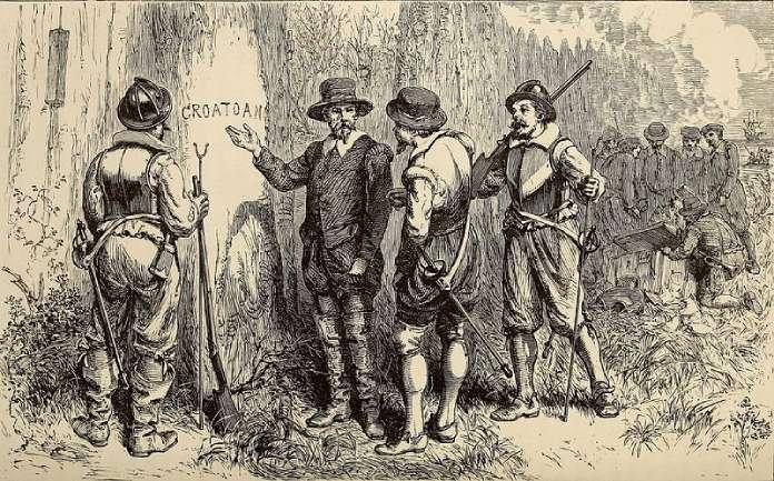 Desapariciones misteriosas + John-White-encontrando-la-palabra-Croatoan-tallada-en-un-árbol