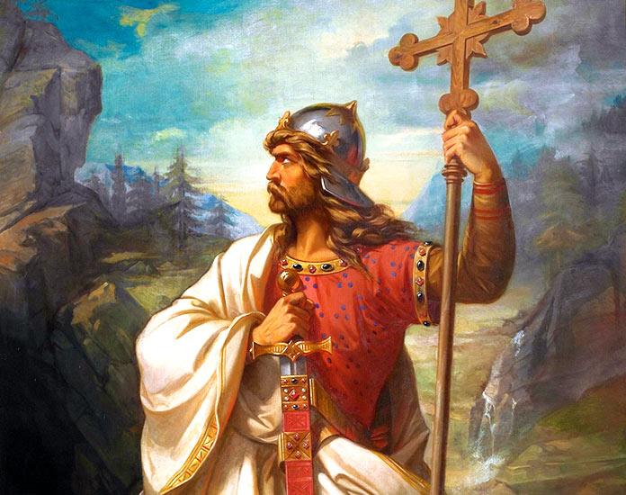 Reyes de la península ibérica. Don Pelayo y su esposa Gaudiosa