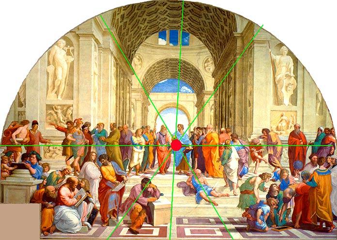 Perspectiva del fresco La Escuela de Atenas