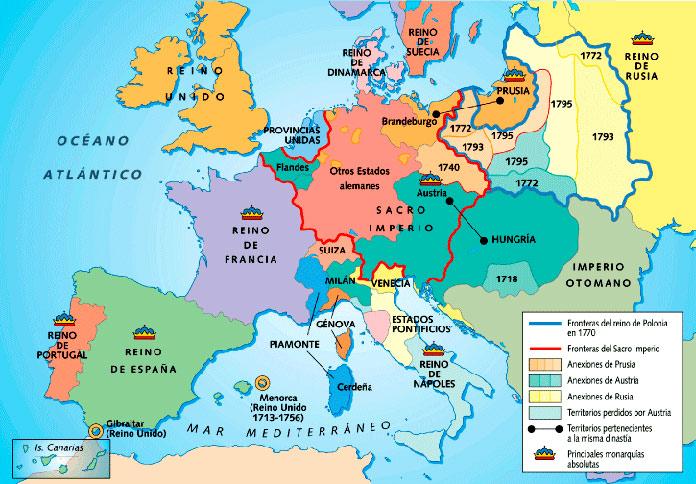 Mapa de Europa con la llegada del Barroco