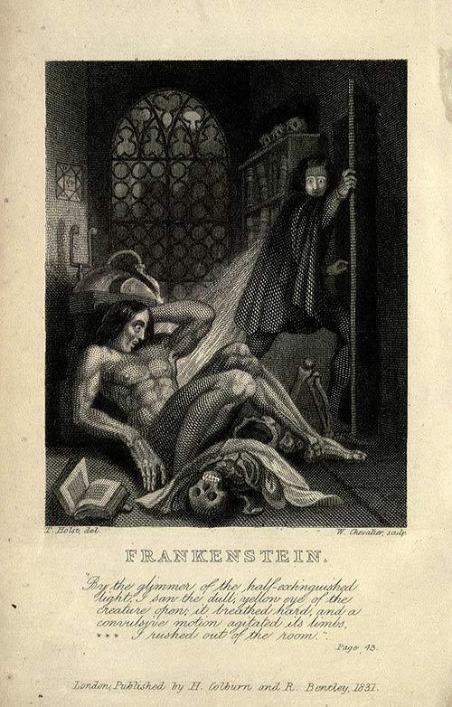 Portada de Frankenstein o el moderno Prometeo de Mary Shelley.