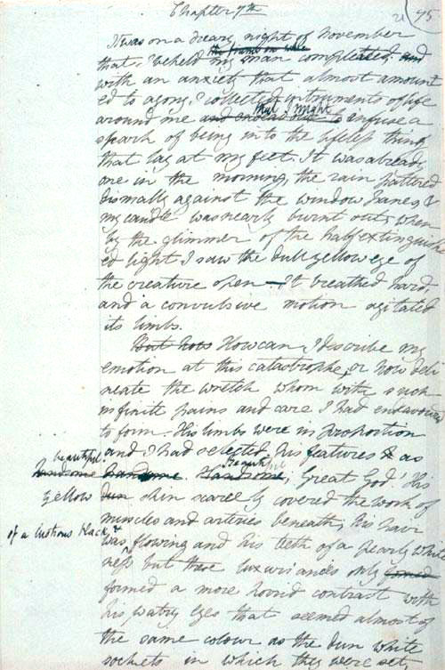 Página manuscrita de Frankenstein