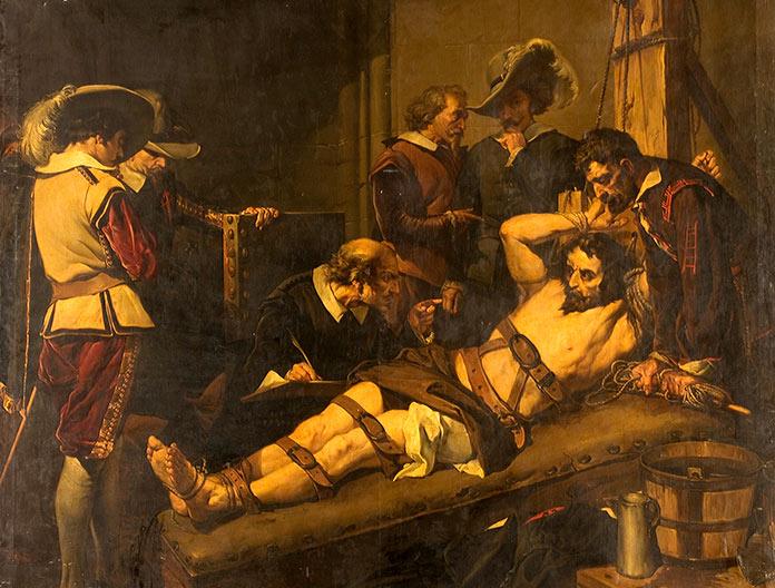 Oleo que representa a Rodrigo Calderón en el tormento que sufrió antes de morir ahorcado en 1621 en la Plaza Mayor de Madrid.