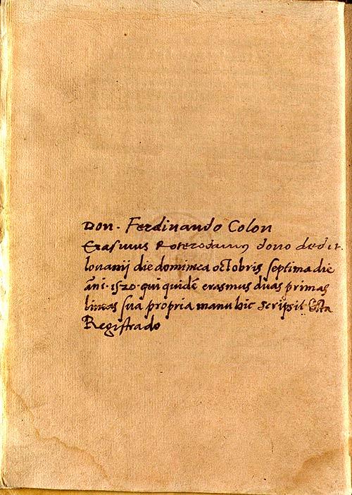 Nota manuscrita de Hernando Colón