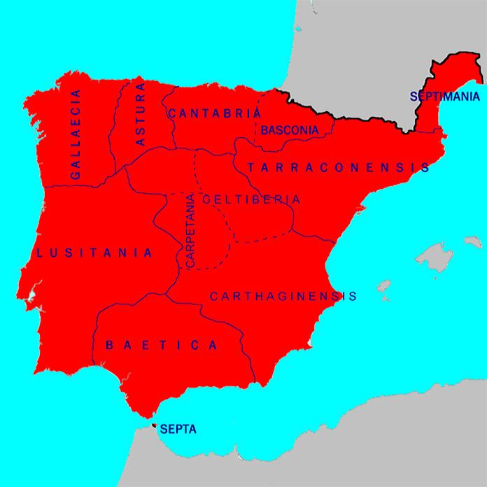 provincias de la Hispania Visigótica en 700 d. C.