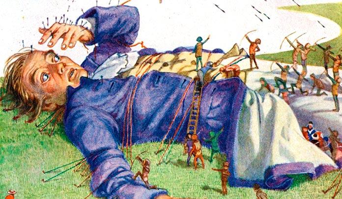 """Ilustración de la novela """"Los viajes de Gulliver"""", de Jonathan Swift."""