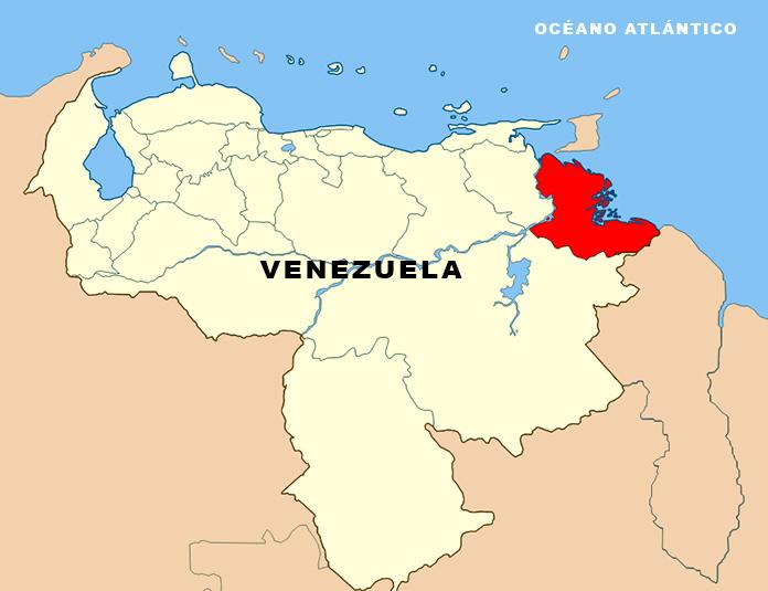 Mapa de Venezuela con el Delta de Orinoco