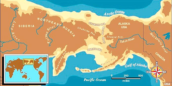 Mapa que muestra la zona de Bering cubierta por tierra, uniendo Rusia con Alaska.
