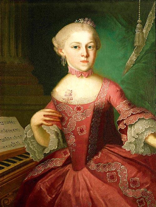 Retrato de Maria Anna Mozart de niña junto al piano
