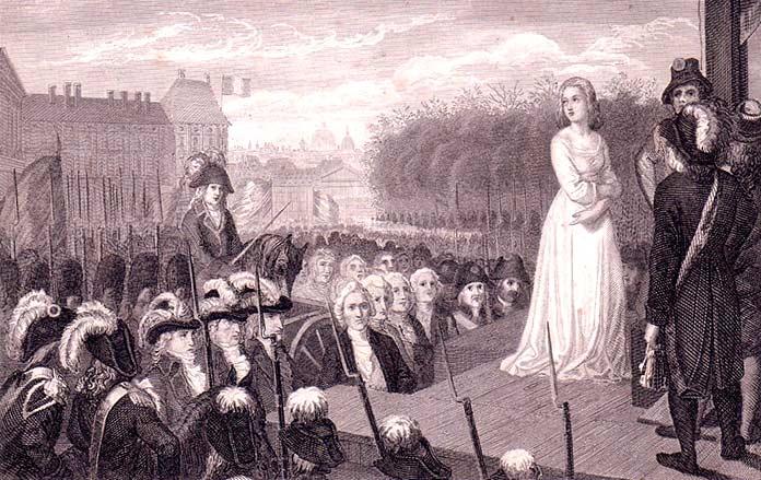 María Antonieta antes de su ejecución, grabado anónimo (1850).