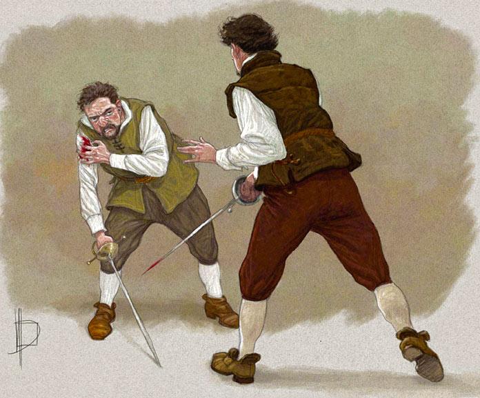Ilustración del duelo entre Cervantes y Sigura