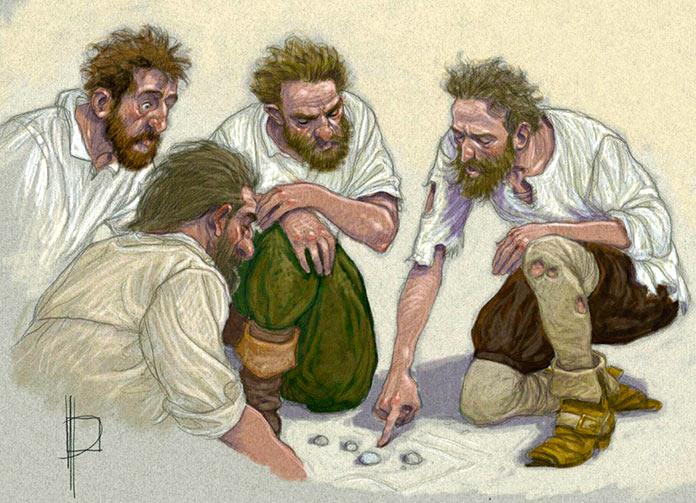 Ilustración de Miguel de Cervantes planeando una de sus fugas