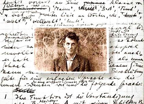 Fotografía antigua de Ludwig-Wittgenstein sobre uno de sus escritos a mano