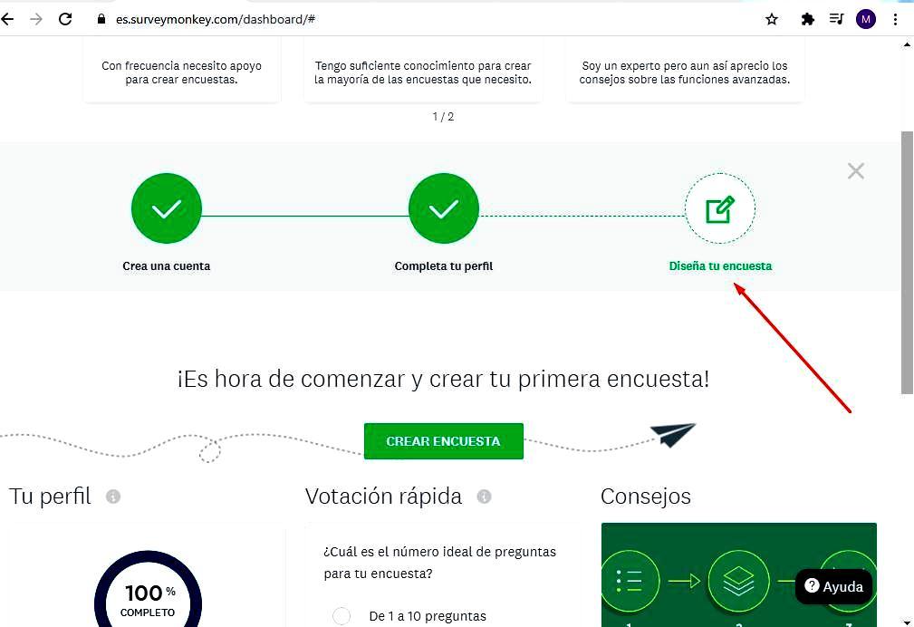 Páginas para hacer encuestas - Diseño encuesta SurveyMonkey