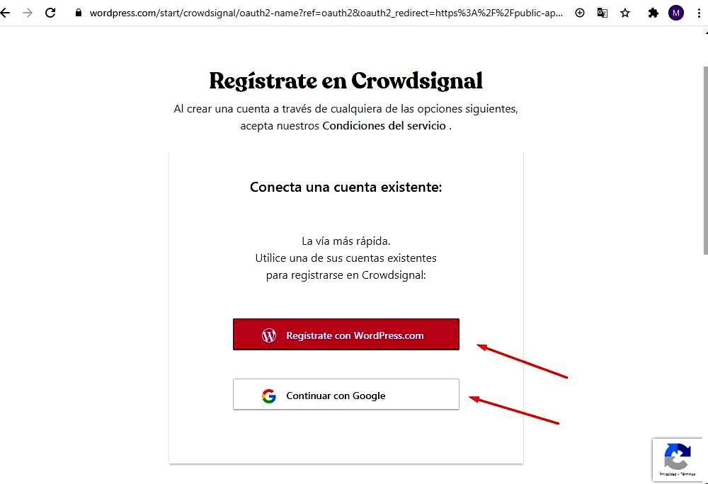 Páginas para hacer encuestas - Registro en plataforma Crowdsignal