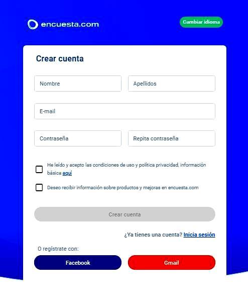 Páginas para hacer encuestas - Crear cuenta en Encuesta.com