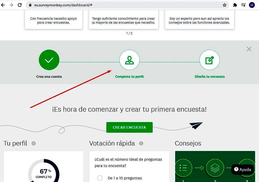 Páginas para hacer encuestas - Completar perfil SurveyMonkey