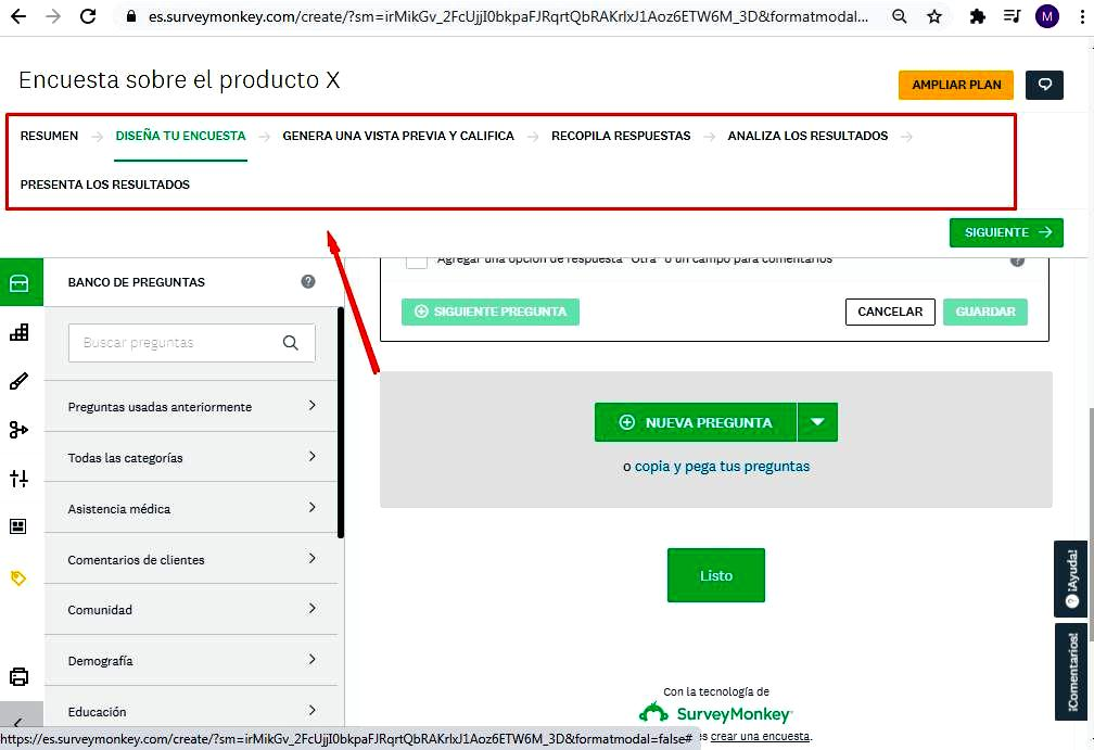 Páginas para hacer encuestas - Configuración de la encuesta SurveyMonkey