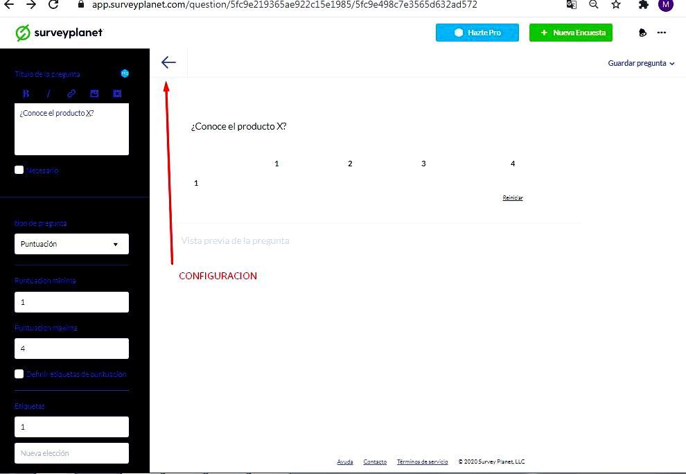 Páginas de hacer encuestas -  Configuración encuesta