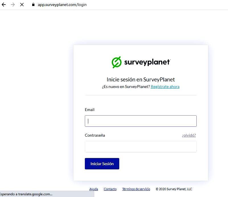Páginas para hacer encuestas - Inicio de sesión Surveyplanet